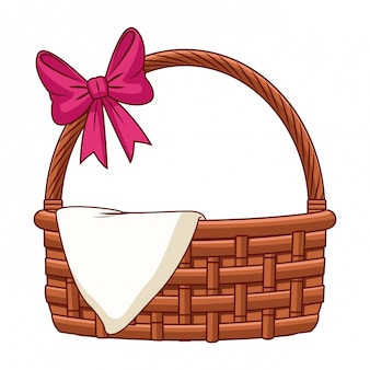 Wicker basket with ribbon and cloth isolated