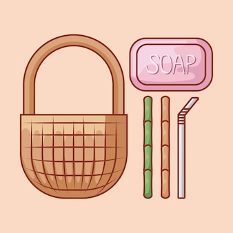 Wicker basket with soap and bamboo straw