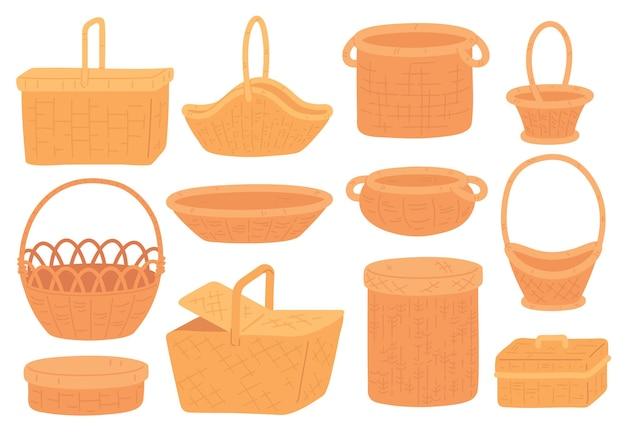고리버들 바구니. 피크닉, 식료품 또는 선물을 위한 빈 짚 바구니. 수제 둥근 대나무 바구니와 상자. 트렌디한 플랫 등나무 바구니 벡터 세트입니다. 피크닉을 위해 손으로 만든 그림 바구니 고리 버들 세공