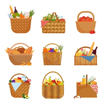 Wicker baskets with groceries set. straw containers filled with fruits and vegetables