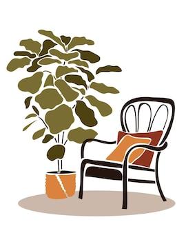 大きな植木鉢の近くの籐の椅子カットアウトスタイルの抽象的な要素を持つモダンな自由奔放に生きるインテリア