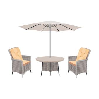 Плетеный садовый стол и стулья с зонтиком
