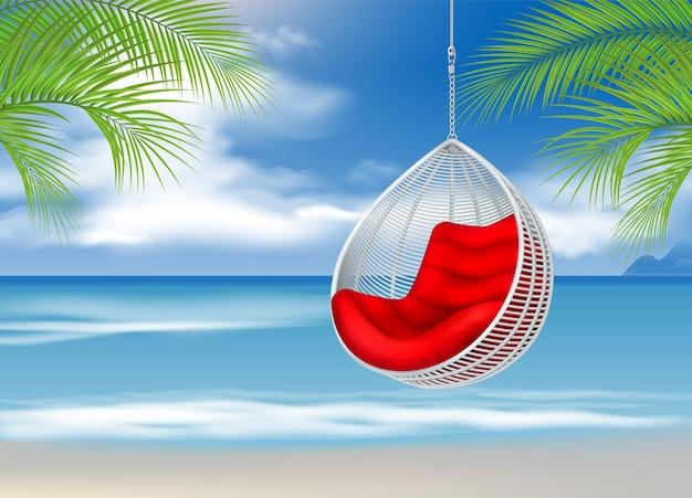 Sedia a dondolo appesa in vimini sulla spiaggia illustrazione