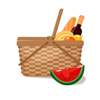 Wicker picnic basket full of groceries a bottle of wine a baguette bananas oranges watermelon