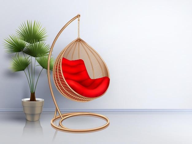 Плетеное кресло-качалка с растительным интерьером, реалистичная композиция с тенями и глянцевым полом с яркой стеной