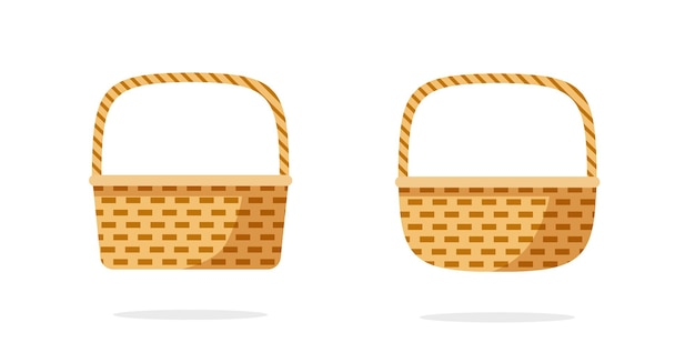 Wicker weave basket or rustic picnic bag collection set flat cartoon icon isolated
