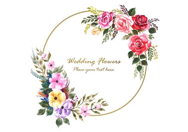 Widdingカードテンプレートと素敵な花のフレーム