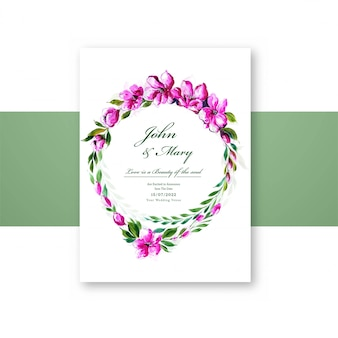 美しい花widdingカードテンプレート