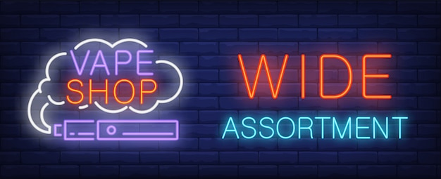 Wide assortment, vape shop neon sign
