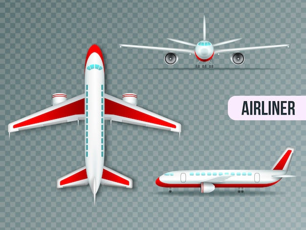 Wide body large civil jet airliner top front and side views realistic images set