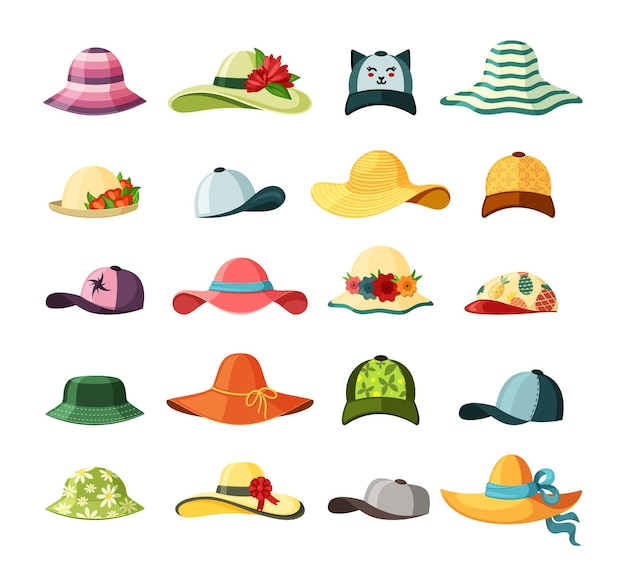 Wide brimmed hats and caps set