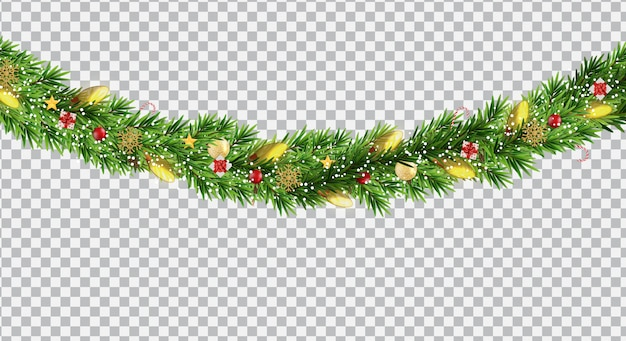 Wide christmas border garland fromf fir branches, balls, pine cones and other ornaments, isolated on transparent background