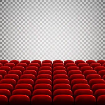 Wide empty movie theater auditorium with red seats. rows of red theater seats.