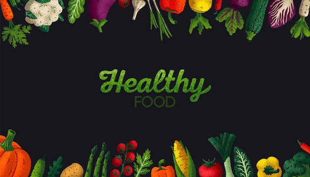 Широкий горизонтальный баннер здорового питания