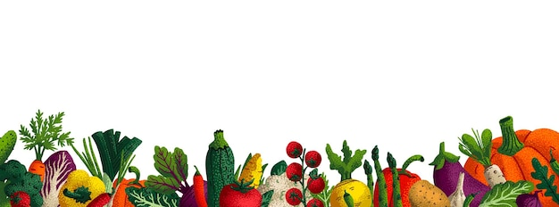 Широкий горизонтальный овощной фон.