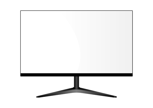 Wide monitor on stand. lcd tv display.