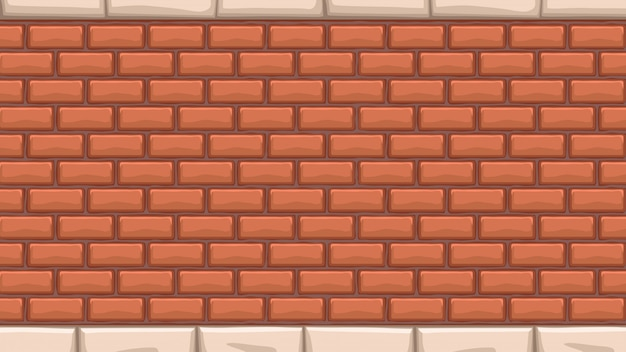 Wide red brick wall