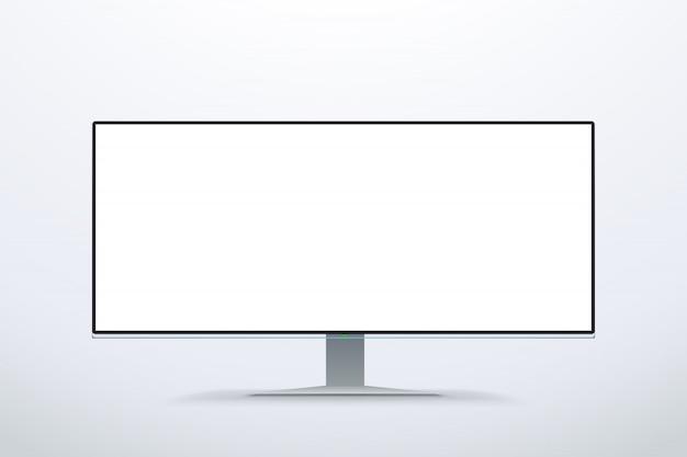 Wide screen white color monitor