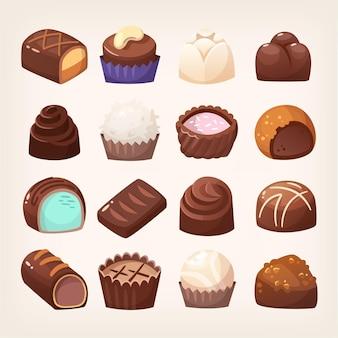 다양한 충전물과 토핑을 가진 다양한 형태의 다양한 초콜릿 과자