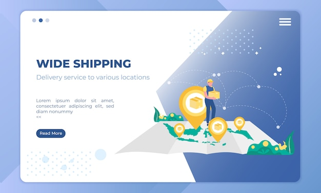 Wide shipping illustration on landing page template