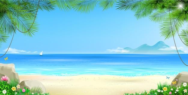 Широкий тропический пляж