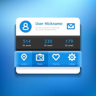 위젯. 소셜 미디어 용 프로필. 웹 또는 모바일 장치를위한 최소 응용 프로그램입니다.