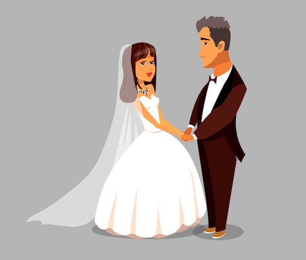 Wife and elderly husband bride vector character.
