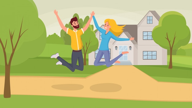 Wife and husband cartoon characters celebrating moving into new house