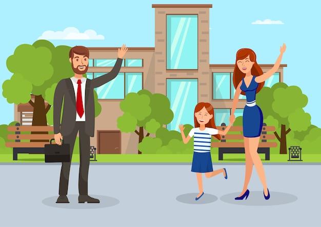 Wife waving to husband flat vector illustration