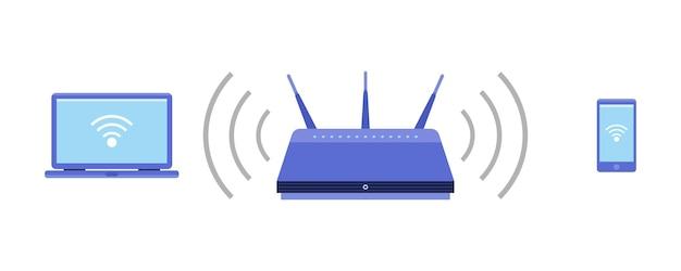 Точка доступа wi-fi ноутбук и телефонное соединение с точкой wi-fi векторный icon беспроводной маршрутизатор