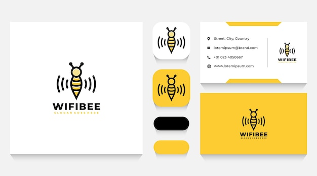 Wifi bee logo template and business card