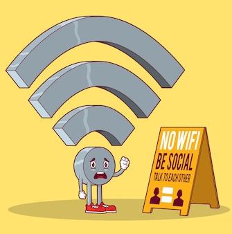 Иллюстрация характера wi-fi. концепция дизайна социальных людей