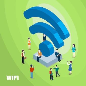 3dアイソメトリックフラットデザインのwifi接続コンセプト