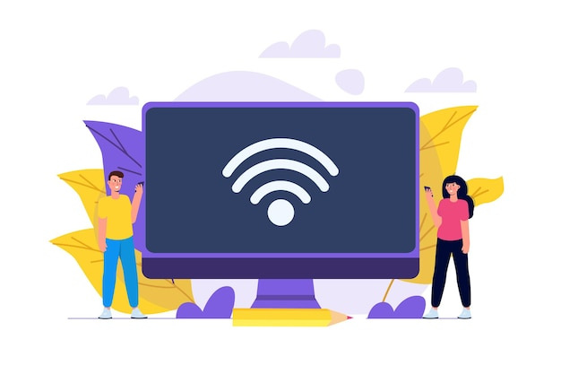 Wifi connection concept. remote connected devices. vector illustration.