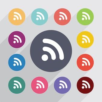 Wifi、フラットアイコンセット。丸いカラフルなボタン。ベクター