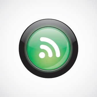 Wifiガラスサインアイコン緑の光沢のあるボタン。 uiウェブサイトボタン