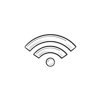 Wifi手描きのアウトライン落書きアイコン。ワイヤレスインターネットとwifi、ホットスポットとインターネットアクセス、ネットワークの概念