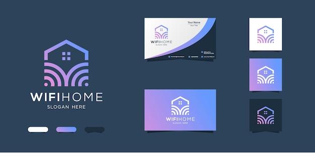 無線lanの家のロゴのデザインと名刺