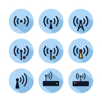 Wifiホットスポットアイコンセットに分離された青い円。 webおよび携帯電話用のホットスポット接続アイコン