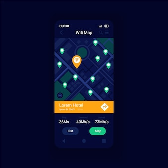 Wifi hotspot location map app smartphone interface vector template. mobile app page design layout. wi fi acess points arouns world map screen. flat ui for application. phone display