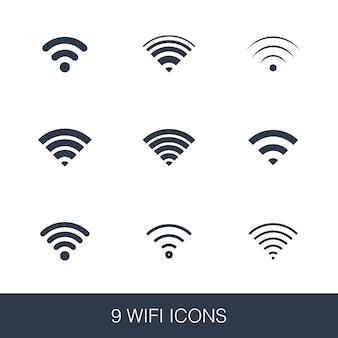 Wifiアイコンを設定します。シンプルなデザインのグリフサイン。 wifiシンボルテンプレート。ユニバーサルスタイルのアイコン、webおよびモバイルuiに使用できます