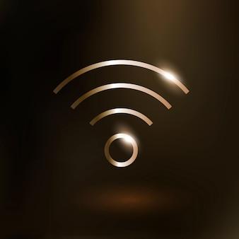 Вектор значок технологии интернет wi-fi в золотой фиолетовый на градиентном фоне