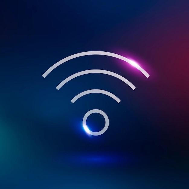 Wifi internet vector technology icon in neon purple on gradient background