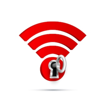 Wifi key protect sign on white