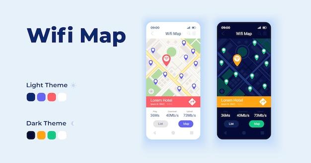 Wifi 지도 만화 스마트폰 인터페이스 벡터 템플릿 집합입니다. 모바일 앱 화면 페이지 데이 및 다크 모드 디자인. 응용 프로그램을 위한 wi fi 핫스팟 세계 지도 ui입니다. 평면 문자가 있는 전화 디스플레이
