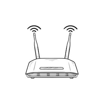 Wi-fi маршрутизатор рисованной наброски каракули значок. интернет-технологии, беспроводная связь и wi-fi, концепция интернет-устройства