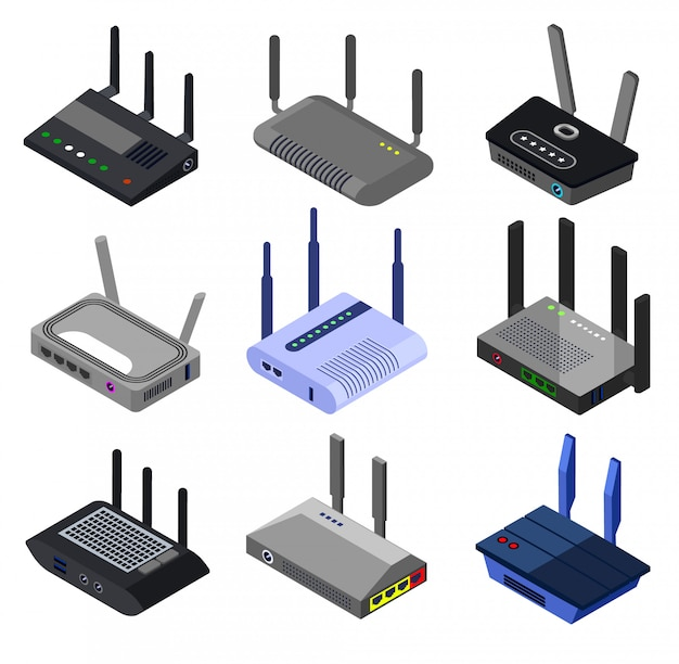 Wifi router isometric set