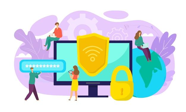Wifiセキュリティの概念、オンラインの安全性、データ保護、安全な接続の図。暗号化、ウイルス対策、ファイアウォール、または安全なクラウドファイル交換。コンピューターのwi-fiはデータ交換を暗号化します。