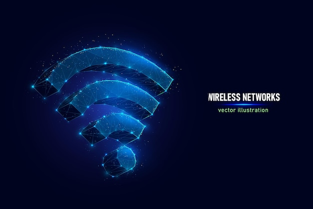 接続されたドットで作られた無線通信技術デジタルワイヤーフレームのwifiサイン。青の背景にwi-fi信号低ポリベクトルイラストのシンボル。