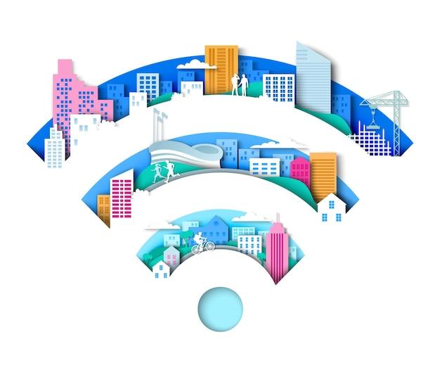 紙のアートスタイルのワイヤレスインターネット接続技術で都市要素ベクトルイラストとwifiサイン...